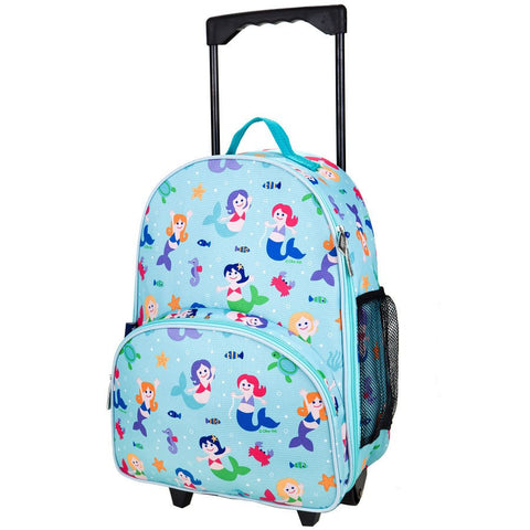 Wildkin Olive Kids Mermaid Rolling Luggage Trolley School Bag - Petit Fab Singapore
