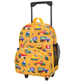 Wildkin Olive Kids Under Construction Rolling Luggage Trolley School Bag - Petit Fab Singapore