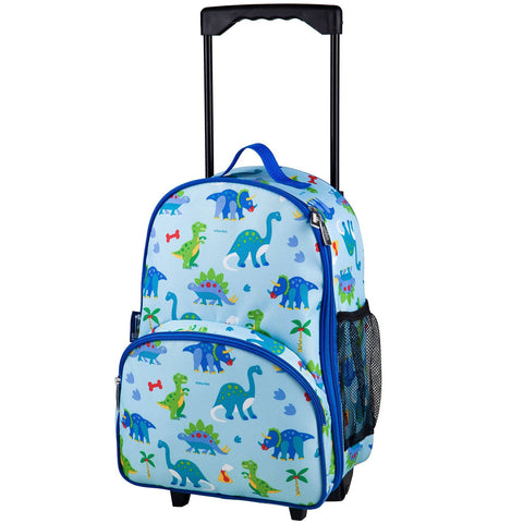 Wildkin Olive Kids Dinosaur Land Rolling Luggage Trolley Bag - Petit Fab Singapore