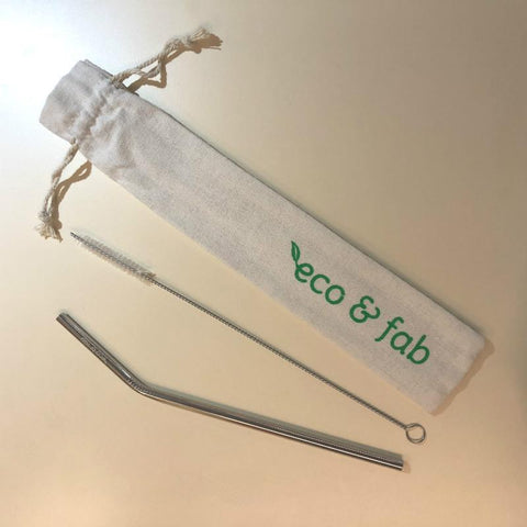 Eco & Fab Reusable Stainless Steel Straw Set [316 Medical Grade] - Bent