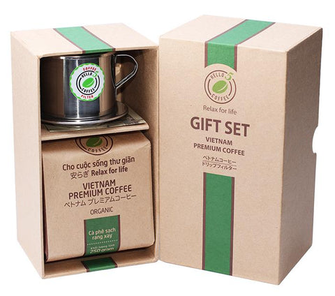 Hello 5 Organic Blend Premium Vietnamese Ground Coffee and Stainless Steel Drip Filter Gift Set
