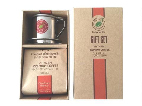 Hello 5 Deluxe Blend Premium Vietnamese Ground Coffee and Stainless Steel Drip Filter Gift Set