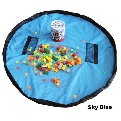 KinderBrands Portable Large Toy Organizer Play Mat Storage Bag (Sky Blue) - Petit Fab Singapore