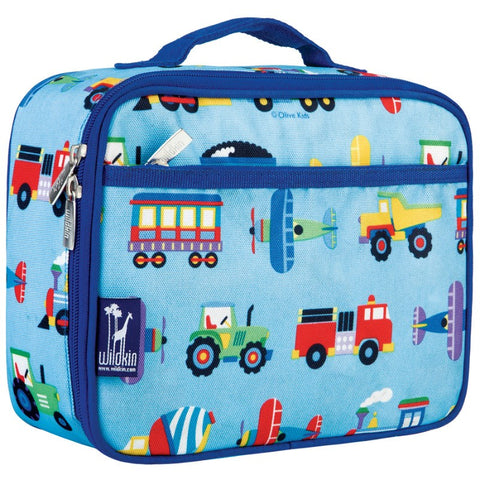 Wildkin Olive Kids Trains, Planes & Trucks Lunch Box Bag [BPA-Free] - Petit Fab Singapore