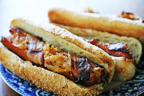 Bacon-Wrapped Stuffed Hot Dogs