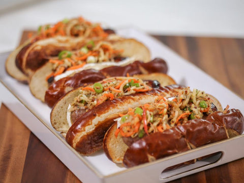 Brats with Brie and Apple Slaw
