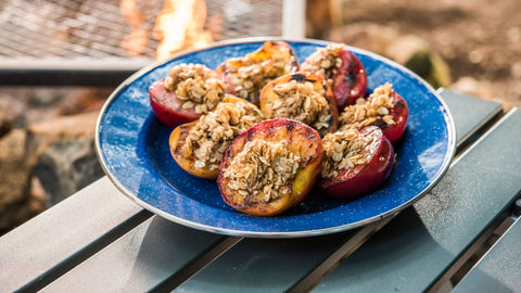 Grilled Fruit with Cinnamon Oatmeal Crumble