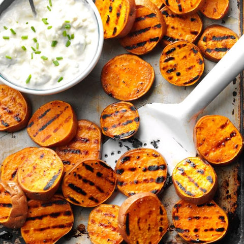 Grilled Sweet Potato with Gorgonzola Spread