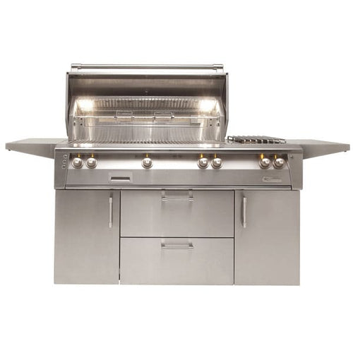 Alfresco ALXE 56-Inch Natural Gas Deluxe Grill With Sear Zone, Rotisserie, And Side Burner
