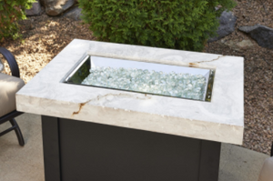 Outdoor Great Rooms White Providence Rectangular Gas Fire Pit Table