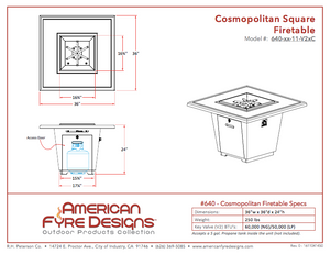 American Fyre Design Cosmopolitan Firetable, Square/Rectangle
