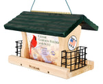 Large Cedar Garden Green Roof Feeder with Suet Cages