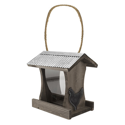 Rustic Farmhouse Tall Hopper Feeder with Metal Rooster Stamping