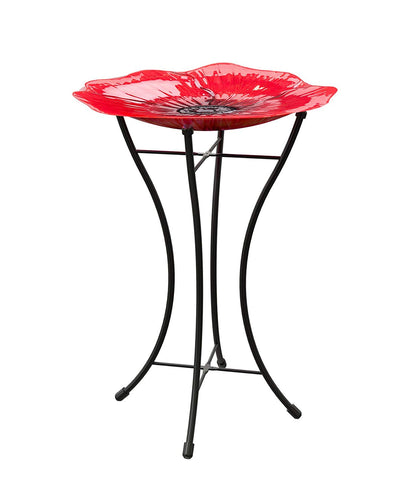 Poppy Glass Bird Bath birdbaths, 16 in. Dia, Red
