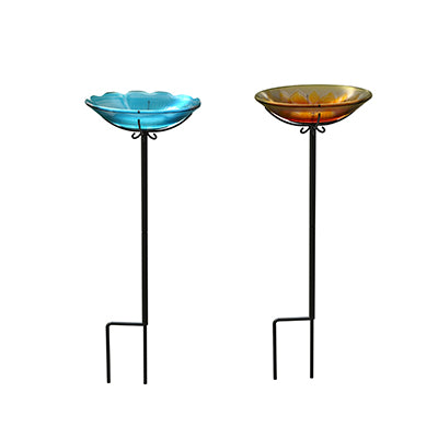 Flower Glass Bird Bath Yard Stake Assortment