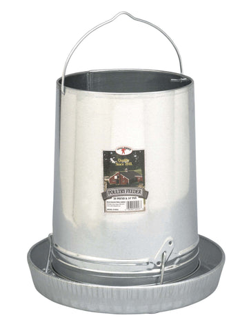 "Galvanized Poultry Feeder - 30LB & 14"" Pan"