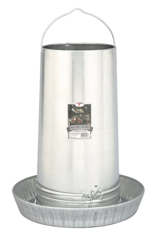 "Galvanized Poultry Feeder - 40LB & 17"" Pan"