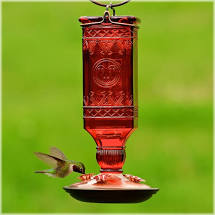 Vintage Style Hummingbird Feeder Red Glass