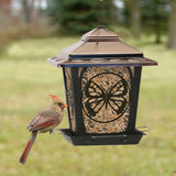 Hopper Style Bird Feeder with Butterfly Design, Bronze