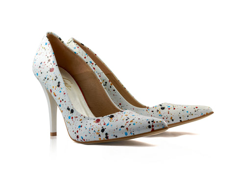 Image of Speckled Court Shoes used to show the heels' details (size 5 UK).