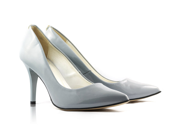Image of Grey Patent Court Shoes used to show the heels' details (size 5 UK).