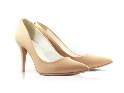 Image of Nude Patent Court Shoes used to show the heels' details (size 5 UK).