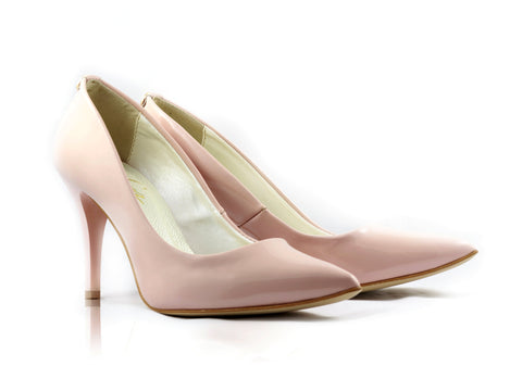 Image of Pale Pink Patent Court Shoes used to show the heels' details (size 5 UK).