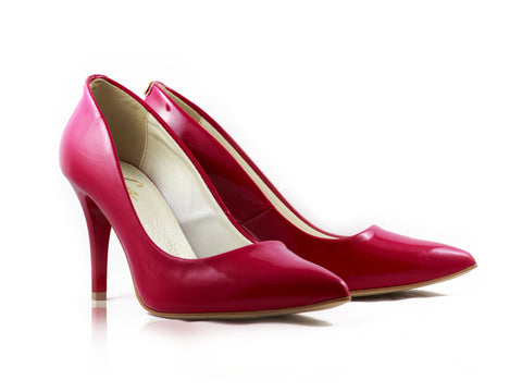 Image of Pink Patent Court Shoes used to show the heels' details (size 5 UK).