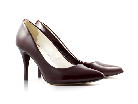 Image of Deep Claret Grain Court Shoes used to show the heels' details (size 5 UK).