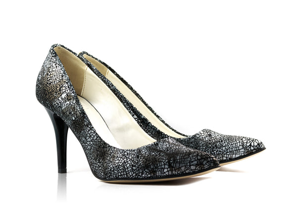 Image of Black Mosaic Snake Court Shoes used to show the heels' details (size 5 UK).