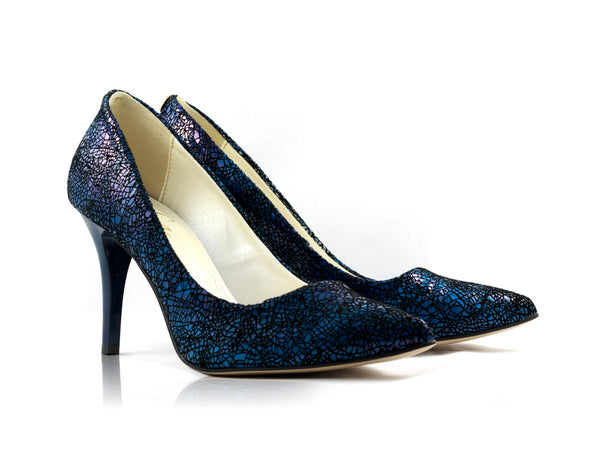 Image of Navy Blue Mosaic Snake Court Shoes used to show the heels' details (size 5 UK).