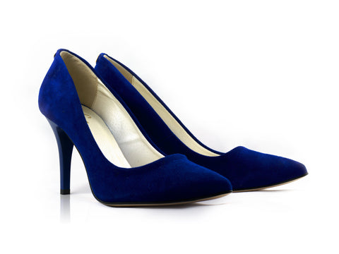 Image of Sapphire Suede Court Shoes used to show the heels' details (size 5 UK).