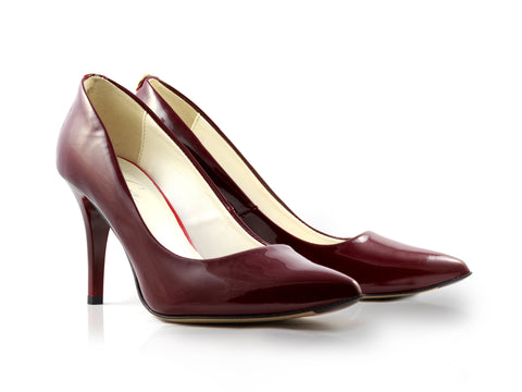 Image of Deep Claret Patent Court Shoes used to show the heels' details (size 5 UK).