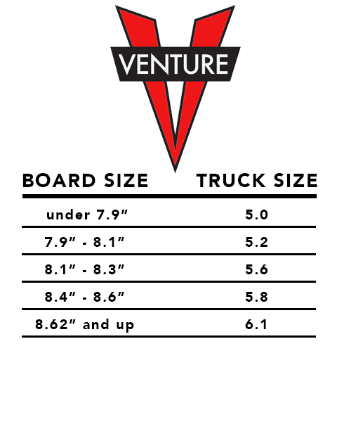 venture skateboards sizing charts