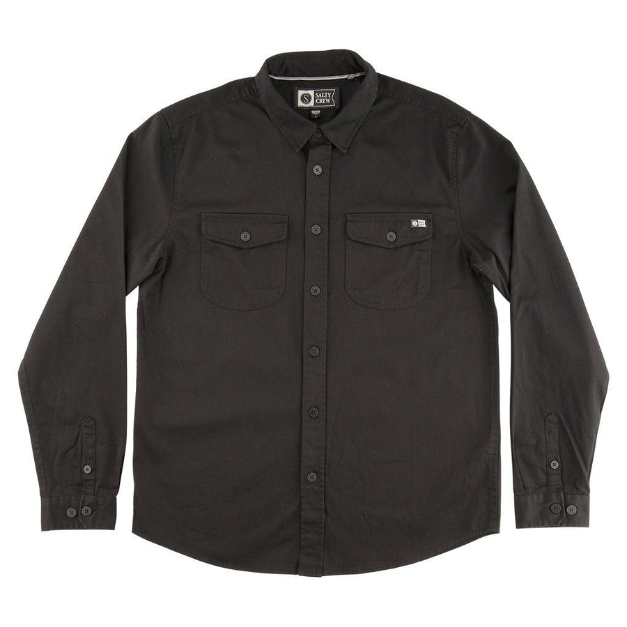 SALTY CREW Cutty L/S Button Up Black MENS APPAREL - Men's Long Sleeve Button Up Shirts Salty Crew