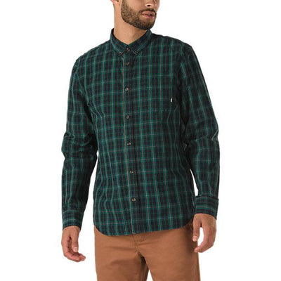 VANS Rockwood Long Sleeve Button Up Shirt Trekking Green MENS APPAREL - Men's Long Sleeve Button Up Shirts Vans L