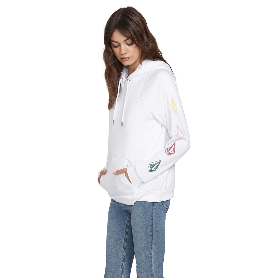 VOLCOM Deadly Stones Women's Hoodie Pullover White WOMENS APPAREL - Women's Pullover Hoodies Volcom