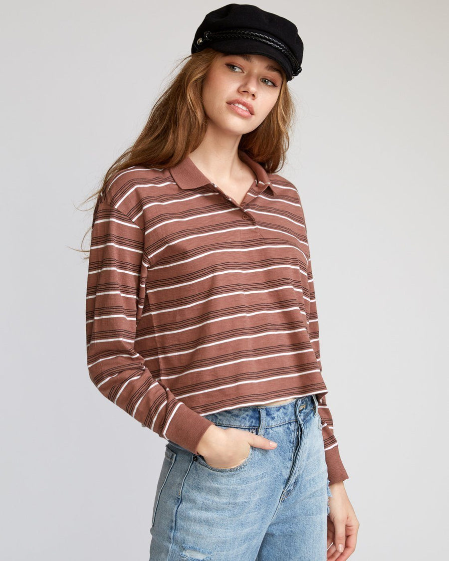 RVCA Junction Striped Long Sleeve Polo Women's Nutmeg WOMENS APPAREL - Women's Long Sleeve T-Shirts RVCA M