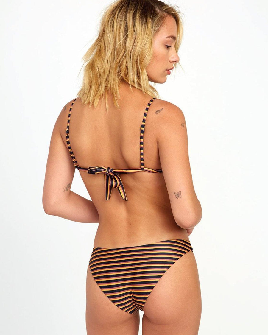 RVCA Bondi Stripe Medium Coverage Bikini Bottom Women's Midnight WOMENS APPAREL - Women's Swimwear Bottoms RVCA