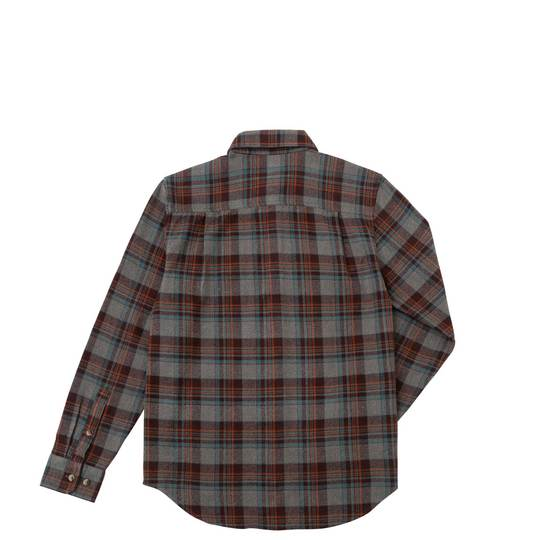 DARK SEAS Awol Long Sleeve Button Up Flannel Grey/ Brown