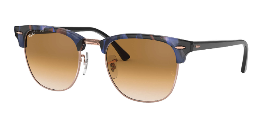 RAY-BAN Clubmaster Fleck 49 Spotted Brown/Blue - Light Brown Gradient Sunglasses