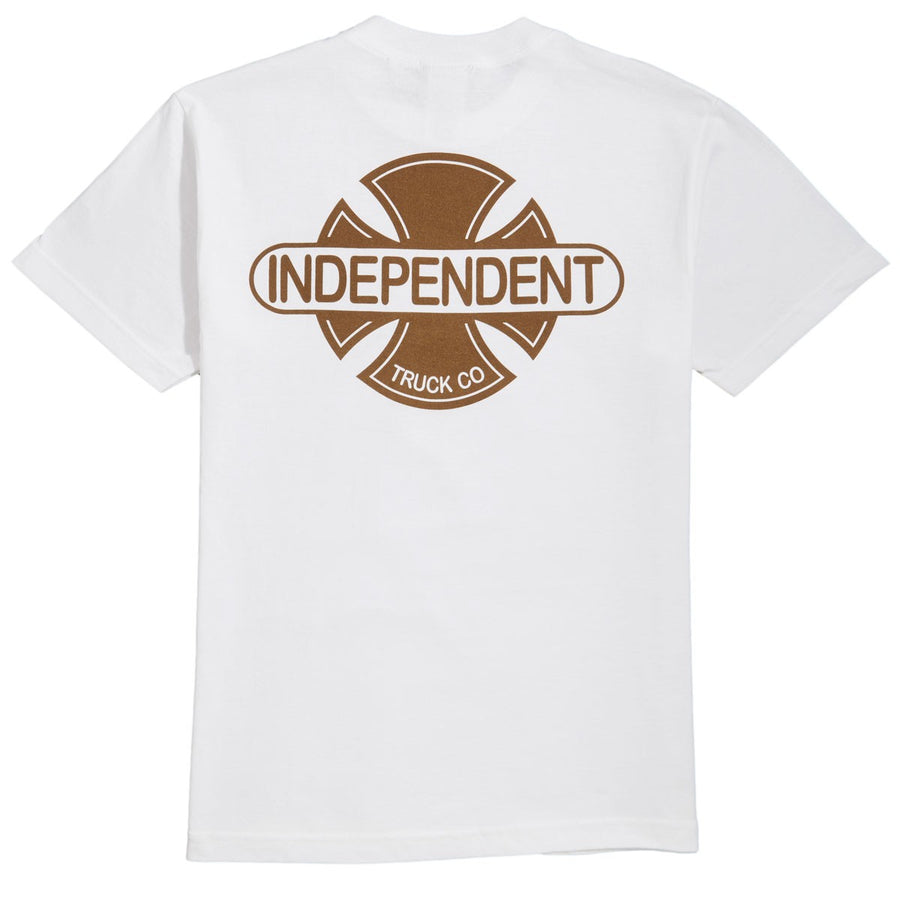 INDEPENDENT Baseplate S/S T-Shirt White/Gold MENS APPAREL - Men's Short Sleeve T-Shirts Independent