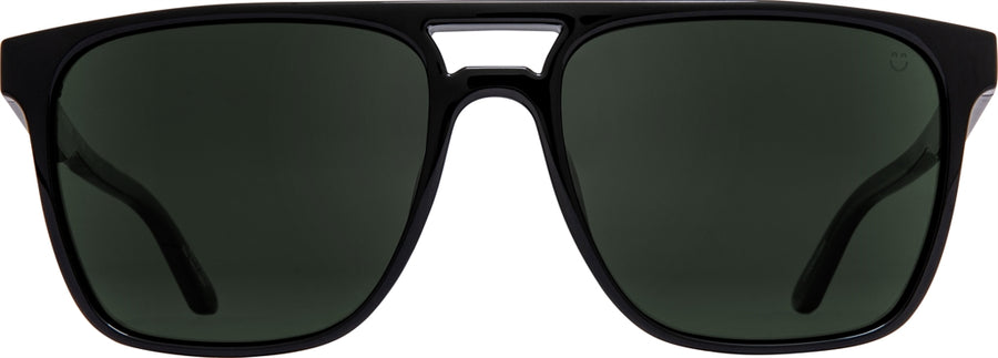 SPY Czar Black - Happy Grey Green Polarized Sunglasses