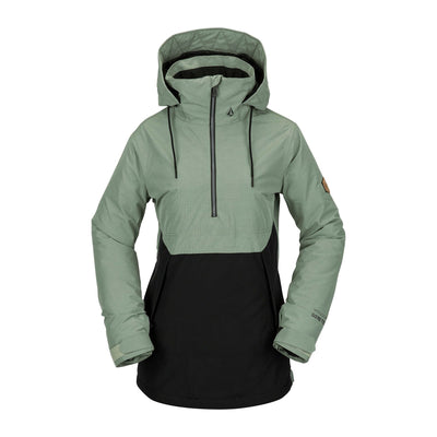 VOLCOM Fern Insulated GORE-TEX Pullover Snowboard Jacket Women's Dusty Green 2021 WOMENS OUTERWEAR - Women's Snowboard Jackets Volcom