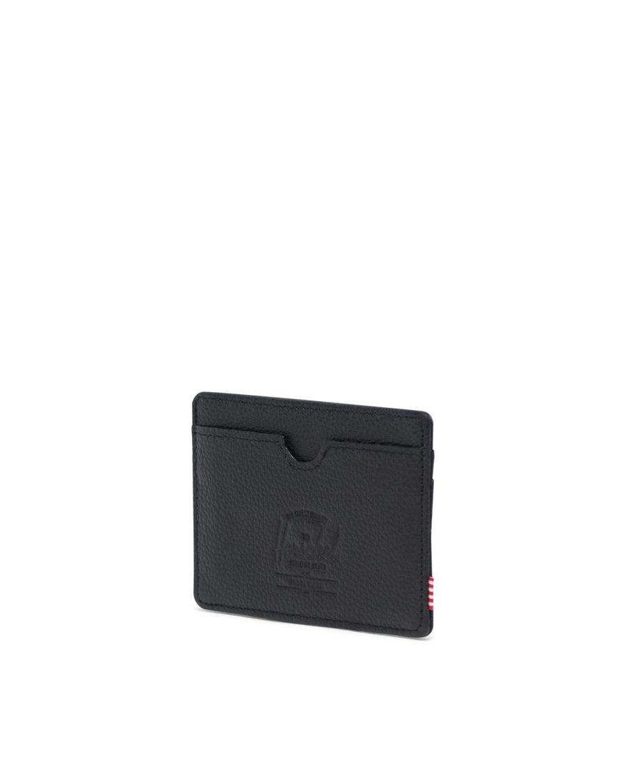 HERSCHEL Charlie Wallet Black Pebbled Leather
