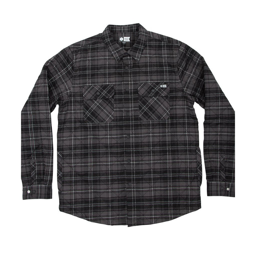 SALTY CREW Boatyard Tech Flannel Black MENS APPAREL - Men's Long Sleeve Button Up Shirts Salty Crew