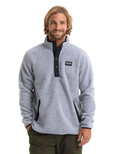 BURTON Hearth Fleece Pullover Grey Heather MENS APPAREL - Men's Sweaters and Sweatshirts Burton