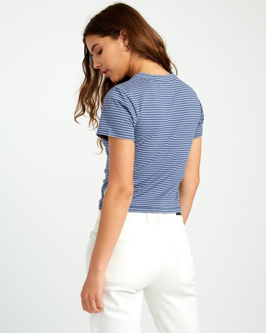 RVCA Fade Out Striped Baby T-Shirt Women's Indigo WOMENS APPAREL - Women's T-Shirts RVCA L