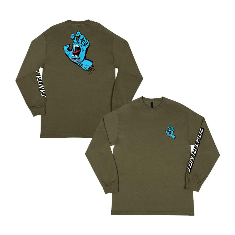 SANTA CRUZ Screaming Hand Long Sleeve T-Shirt Military Green MENS APPAREL - Men's Long Sleeve T-Shirts Santa Cruz