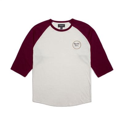 BRIXTON Wheeler 3/4 Sleeve MENS APPAREL - Men's 34 Sleeve T-Shirts Brixton OFF WHITE/MAROON M